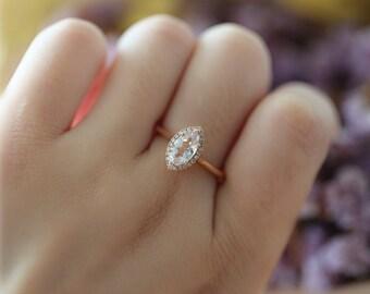 Solid 14K rose gold bridal set Marquise Morganite Engagement Ring Wedding Ring Morganite Wedding Ring Promise Ring unique morganite ring