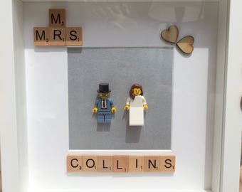 Personalised Picture Frame Lego Scrabble Bride & Groom Wedding Love Anniversary
