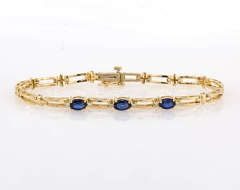 14K Yellow Gold 1.90 CTW Natural Sapphire & Diamond Ladies Fancy Link Bracelet