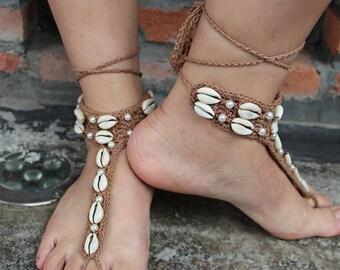 Beach Shells Sandal,Shell Barefoot Sandal, Beach Sandal, Barefoot Wear, Poolside Sandal, Pool Sandal, Beach Party Sandal, Beach Jewelry,Gift