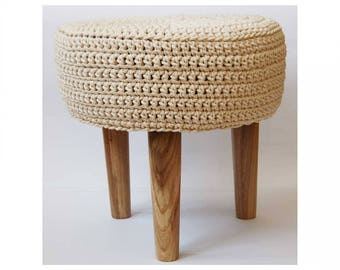 Knitted pouf ,Floor   Round Pouf -  Ottoman wooden legs, Footstool, round timber stool,knitted pouf ottoman,kid table and chairs