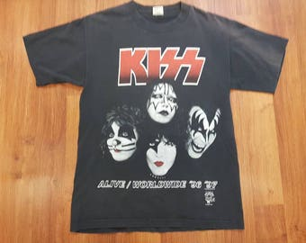 Distressed Vintage Kiss Shirt Alive/Worldwide Promo Shirt Size L