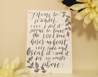 Come Thou Fount Hymn Calligraphy Print