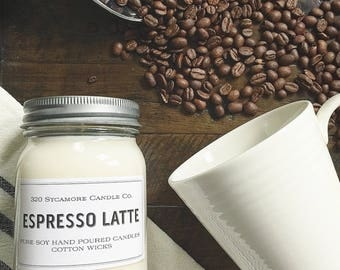 16 oz. Espresso Latte Hand Poured Pure Soy Candle with Cotton Wick