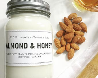 16 oz. Almond & Honey Hand Poured Pure Soy Candle with Cotton Wick