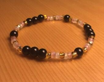 Pink Black Gold Bracelet