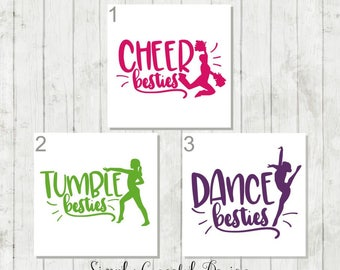 Best Friends Decal, Besties Decal, Cheer Decal, Dance Decal, Gymnast Decal, BFF Gifts, Girls Sports Decals, Gift for Friends, Tumbler Decal