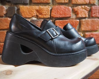 Women's 90s Black Chunky Platform Wedges Shoes With Buckle Size US 8.5