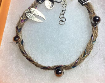 Woven hemp hand stitched angel wing bracelet