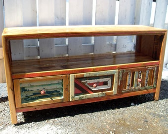 Colorful tv Cabinet! 100% reclaimed wood!