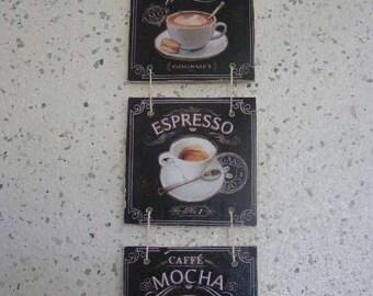 trio de cadres thème café