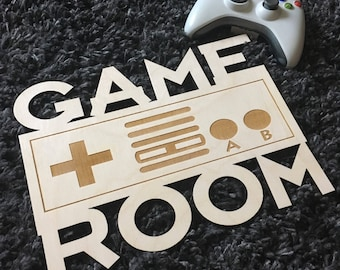 Game Room Sign, Controller, Video Games, Xbox, Nintendo, Playstation, PS, Wii, Computer, Laser, Cut Out, Man Cave, Unfinished, Wood, Sign