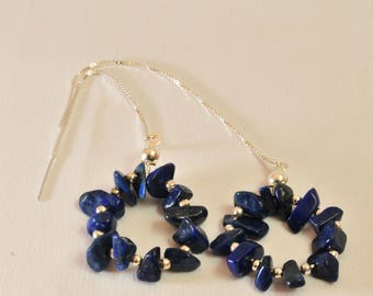 Lapis Lazuli chips on silver chain 925 Silver earrings