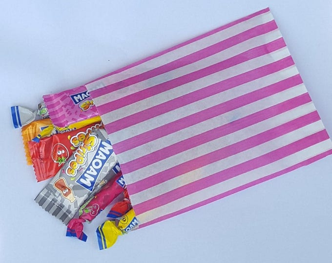 Pre filled childrens party baby shower christenng candy stripe sweet bags favours
