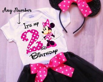 Minnie Mouse Birthday Outfit, Minnie Outfit, Minnie Tutu, Birthday Outfit Girl, 1st Birthday, 2nd Birthday, 3rd Birthday, Tutu Outfit Girl