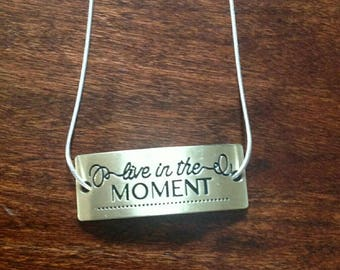 Gold toned Live in the Moment Necklace