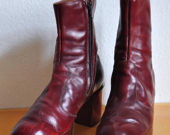 1970s burgundy glam rock mens platform boots