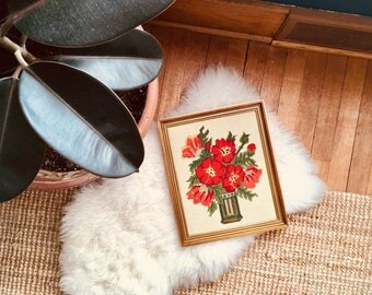 Vintage - Poppy - Floral - Needlepoint