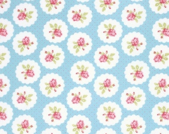 END OF BOLT - 3 Yards - Tanya Whelan - Lulu Roses - Lotti - Sky - Free Spirit - Shabby Chic Fabric - 100 % cotton , Quilting