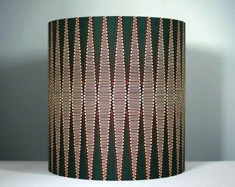 Tall geometric fabric lampshade handmade by vivid shades, modern retro stylish tribal pattern custom made funky and unique