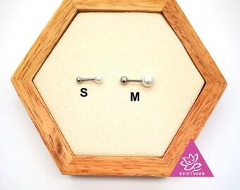 1 pcs helix lobe  pearl white screw behind ball size 4mm or 6mm minimaliste géométrique Stud ligne