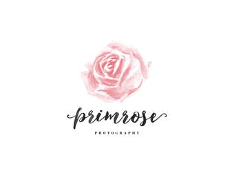 Rose Logo / Watercolor Flower Logo / Pink Rose Logo / Floral Logo / Pink Logo / Flower Shop Logo / Floral Photography Logo / Pretty Logo