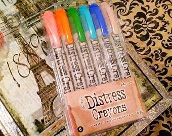 Tim Holtz Distress Crayons by Ranger  ~Set 6~ 6 ct. Crayon Set