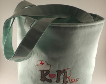 RN tote bag lined with straps