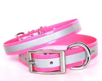 Pink Reflective Waterproof Dog Collar - Reflective Waterproof Pink Dog Collar - Smell Resistant Pink Dog Collar - Smell Proof Dog Collar