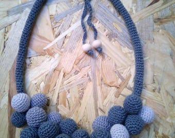 Crochet necklace denim
