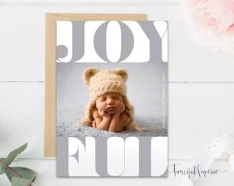 Baby Holiday Card, Family Xmass Card, Christmas Holiday Photo Card, Joy Full Card, Merry Christmas Photo Card, Printable Family Holiday Card