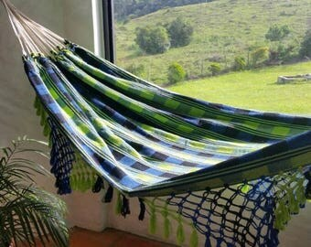 Outdoor hammock, Apple green and blue cotton hammock, with hand made Bell Fringe, patio decoration, double hammock