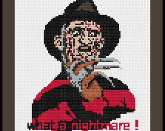 Freddy Krueger Cross Stitch Pattern, Nightmare on Elm Street Sewing PDF,Halloween Cross Stitch Tutorial,Horror Embroidery Pattern,Retro Film