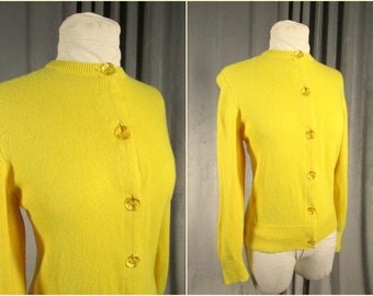 Vintage 90s Yellow Cashmere Cardigan Size S. Purple Hills Scottish Cashmere Sweater. Faceted Jewel Buttons. Ribbon Finished.Super Soft Knit!