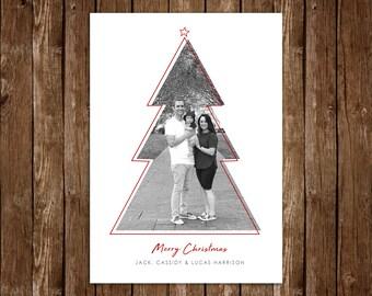 Contemporary Christmas Tree Christmas/Holiday Photo Card, Minimalist Holiday Card - DIY Printable JPEG