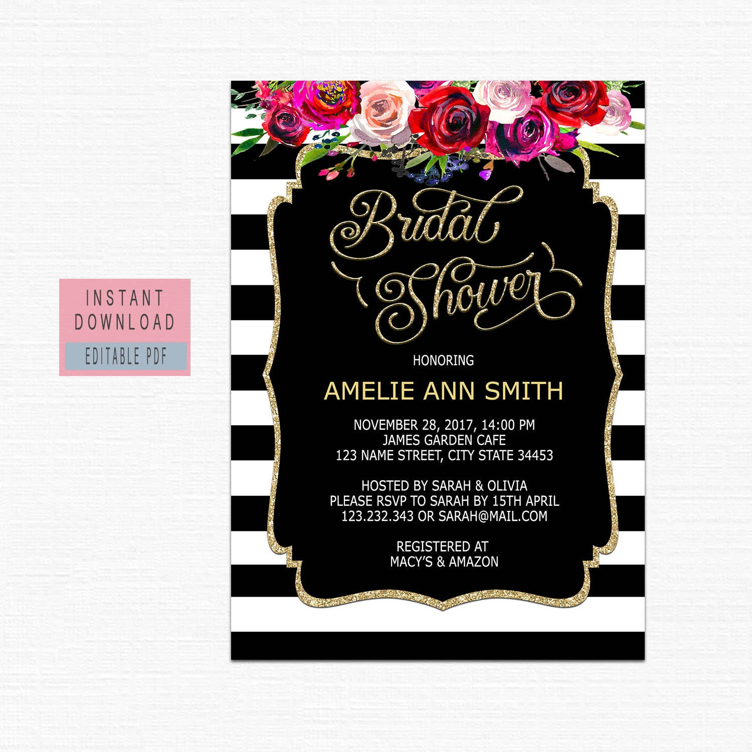 Bridal shower invitation instant download bridal shower invites bridal shower invitation instant download bridal shower invites floral black gold bridal shower invitation filmwisefo