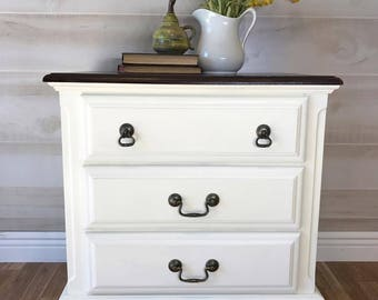 SOLD Hand Painted Country Farmhouse Night Stand, End Table, Side Table,  White,