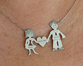 Personalized Anniversary Couple Heart Name Necklace