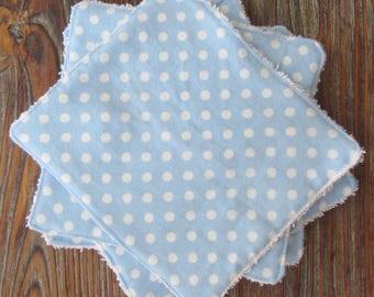Baby Wash Cloth Set; Baby Boy Gift; Baby Shower Gift; Blue Polka Dot Wash Cloths; Bath Gift