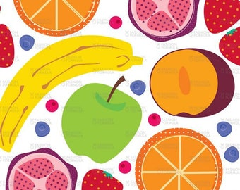 Colourful Fruit fabric by Samossie - Cotton/ Polyester/ Jersey/ Canvas/ Digital Printed