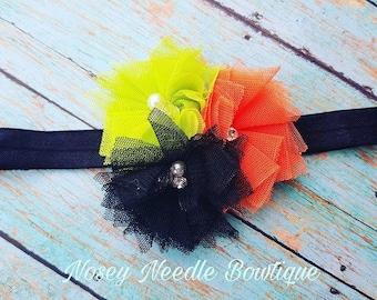 Halloween hair bow, Halloween headband, hair bow for Halloween, headband for Halloween, Halloween hair clip, Orange flower headband