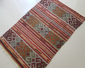3x4 Adorable and happy little vintage Kilim,Vintage Turkish Kilim,Entry Rug,Multi-Colored rug,Bohemian Rug,Decorative Rug-100 x 151 cm
