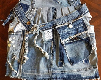 UPCYCLING jeans skirt, Tulip skirt with extra belt bag Nr. 112