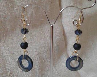 """Earrings """"Black Pearl ring"""""""