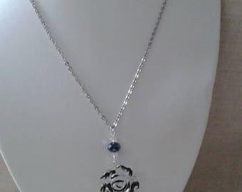 "necklace ""black and transparent flower"""