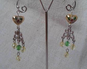 Yellow cloisonné heart earrings