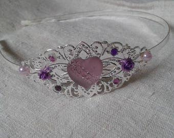 """Purple Rhinestone Heart"" headband"