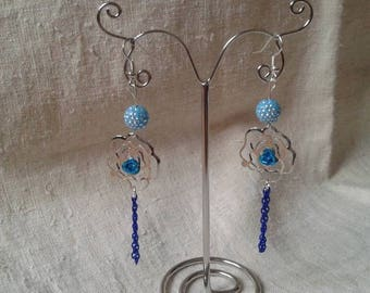 Blue and Silver Flower Earrings