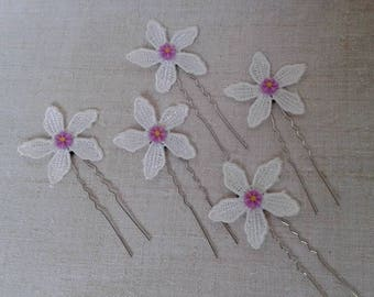 set of five strips of white flowers