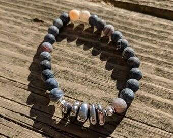 Agate & Hematite Beaded Bracelet